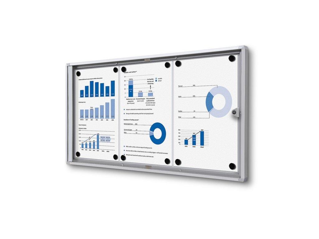 SCXS3xA4 - Interiérová vitrína Economy 3xA4 - plechová záda