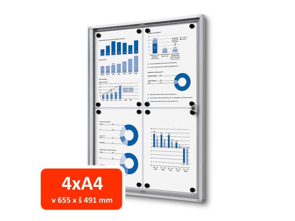 Vitrína XS interiérová 4xA4