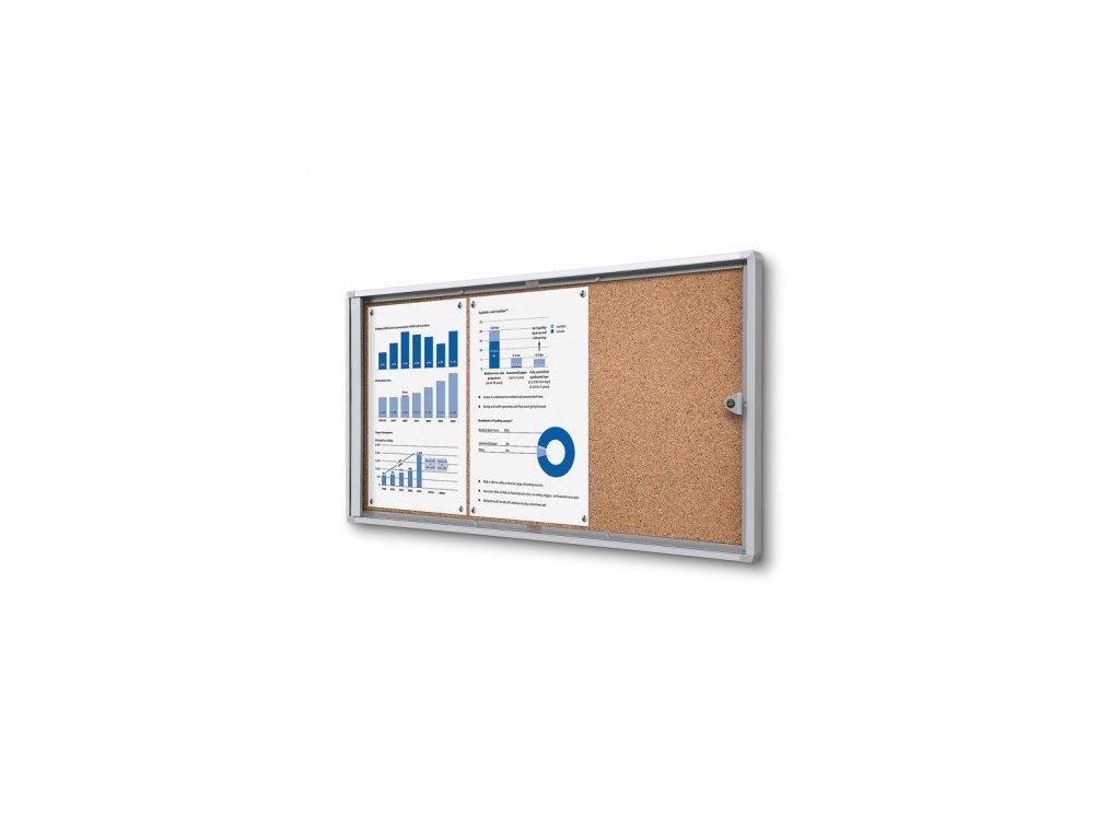 SCXSC3xA4 - Interiérová vitrína Economy 3xA4 - korková záda