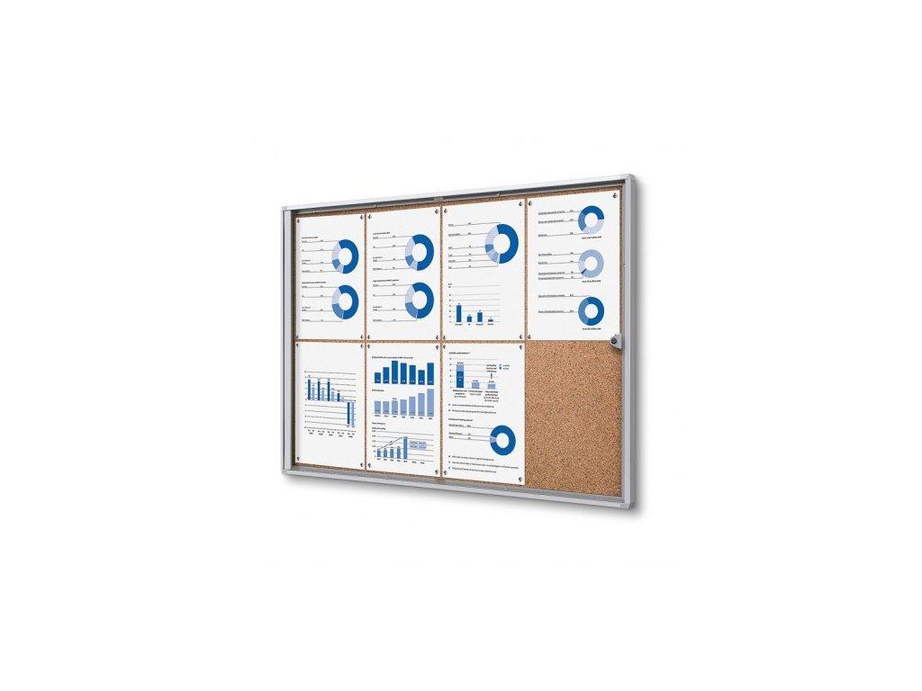 SCXSC8xA4 - Interiérová vitrína Economy 8xA4 - korková záda