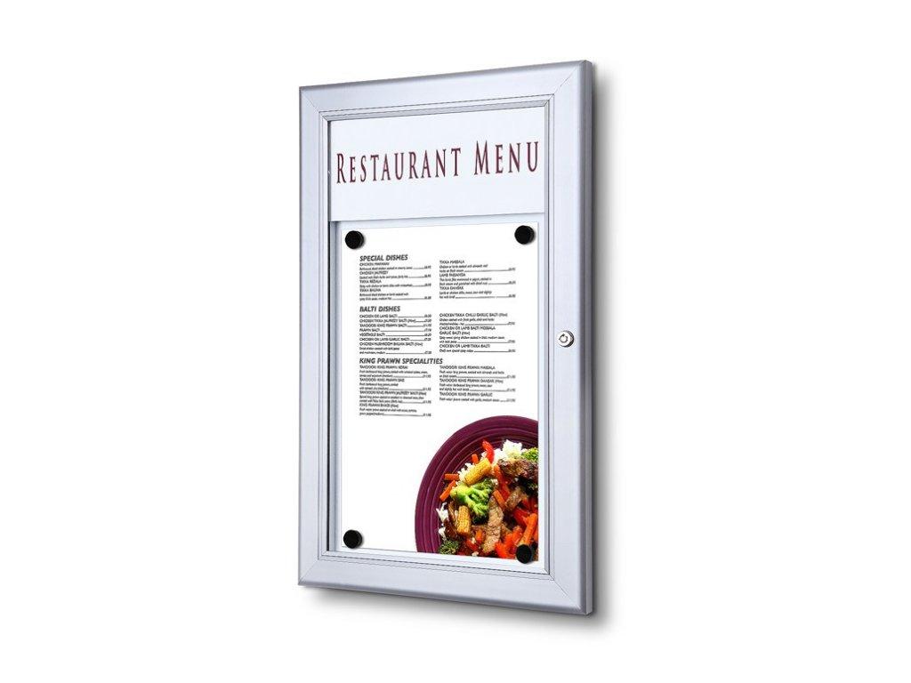 Venkovní uzamykatelná menu vitrína 1xA4 SCZ1XA4