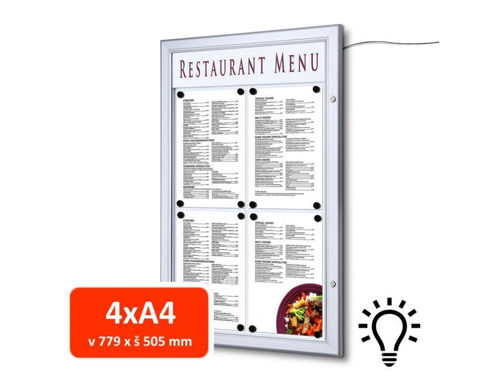 Venkovní menu vitrína SC Z 4xA4, LED osvětlení