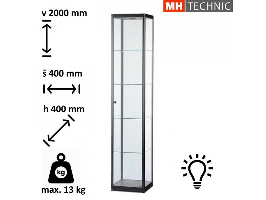 Skleněná vitrína VR 400x2000x400 mm, černá, s osvětlením