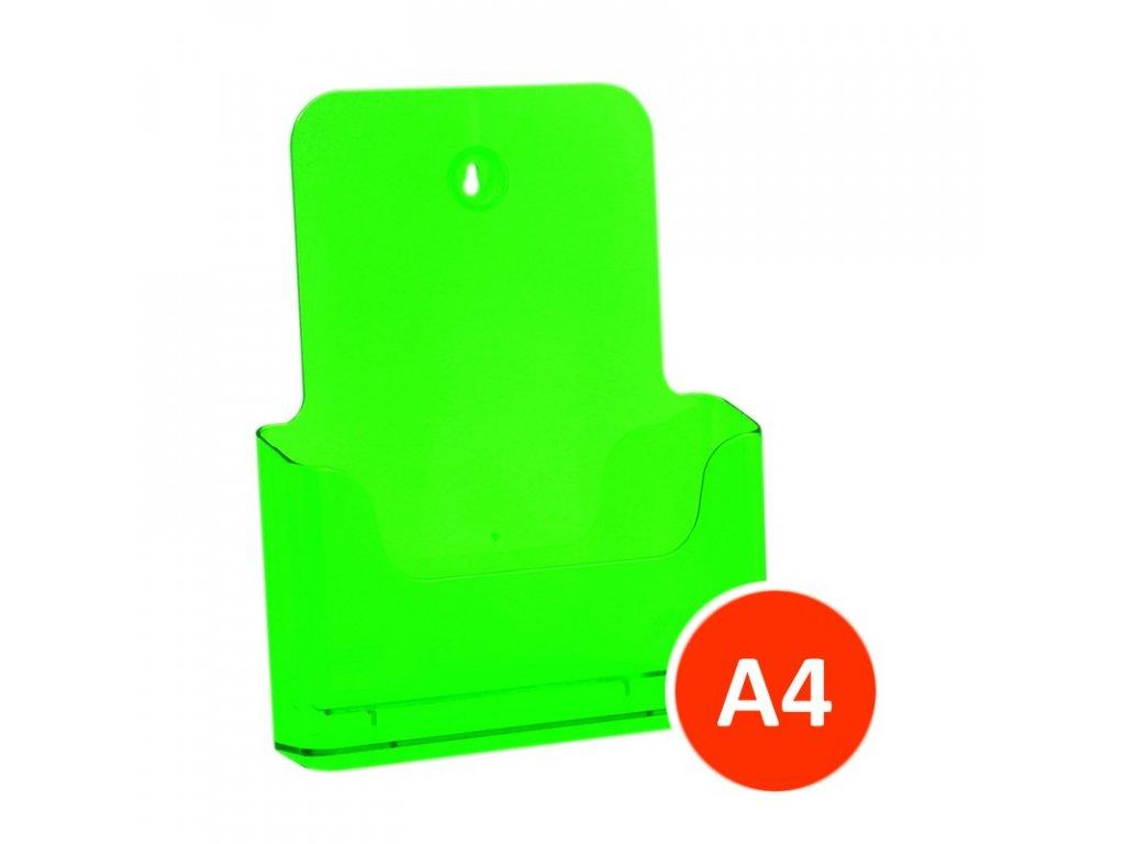 Stolní stojánek na letáky A4, tónovaný zelený