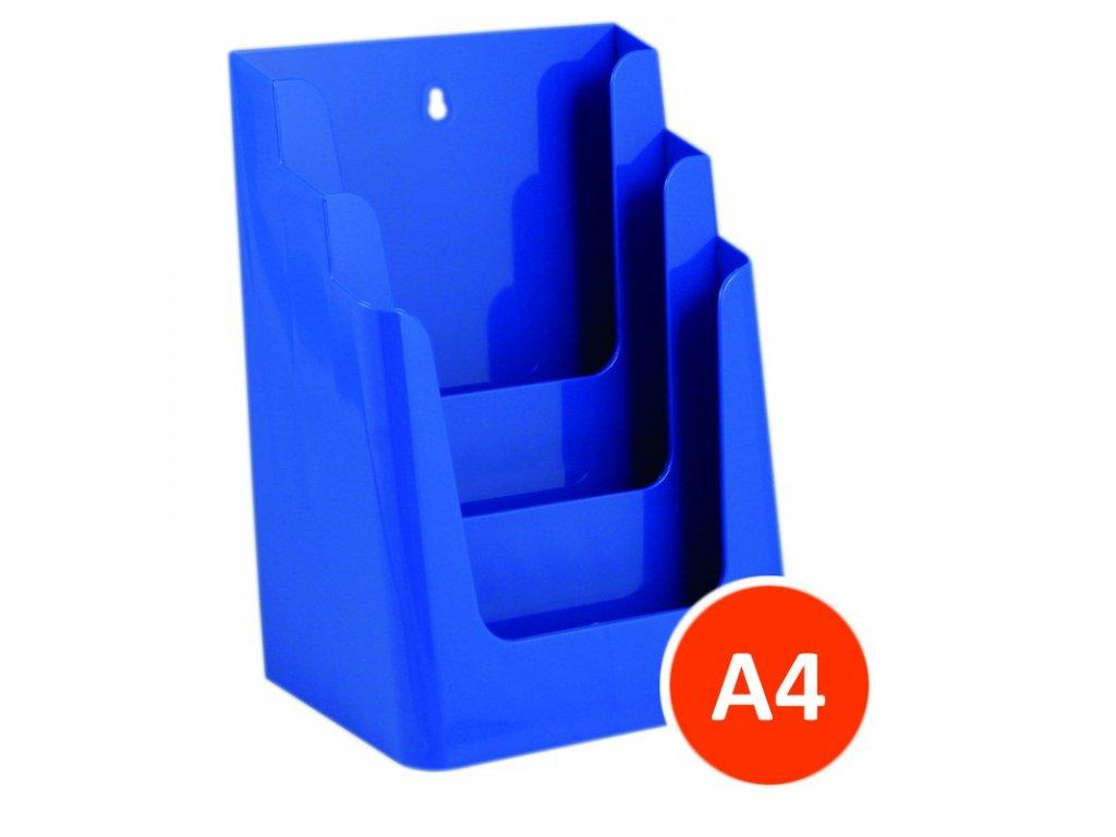 Stolní stojánek na letáky 3xA4, modrý