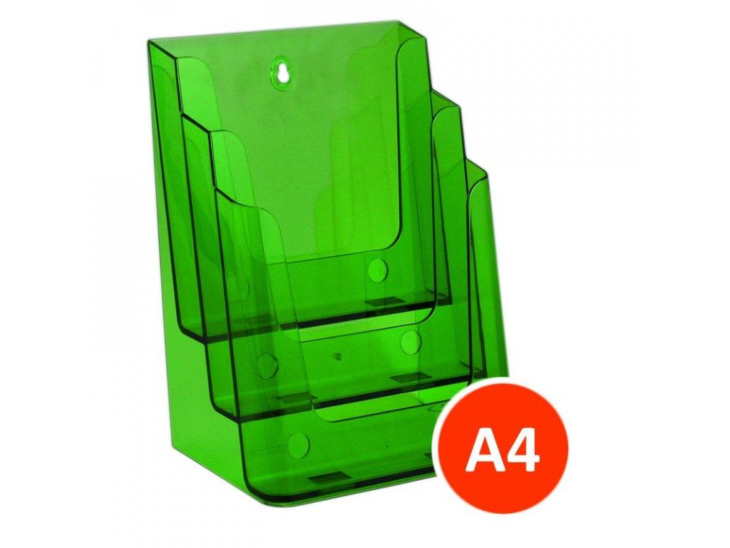 Stolní stojánek na letáky 3xA4, tónovaný zelený