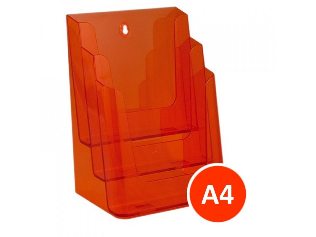 Stolní stojánek na letáky 3xA4, tónovaný oranžový, balení 8ks