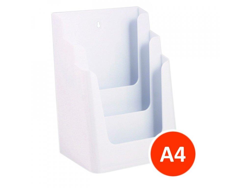 Stolní stojánek na letáky 3xA4, bílý, 8ks