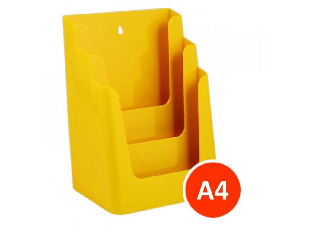 Stolní stojánek na letáky 3xA4, žlutý