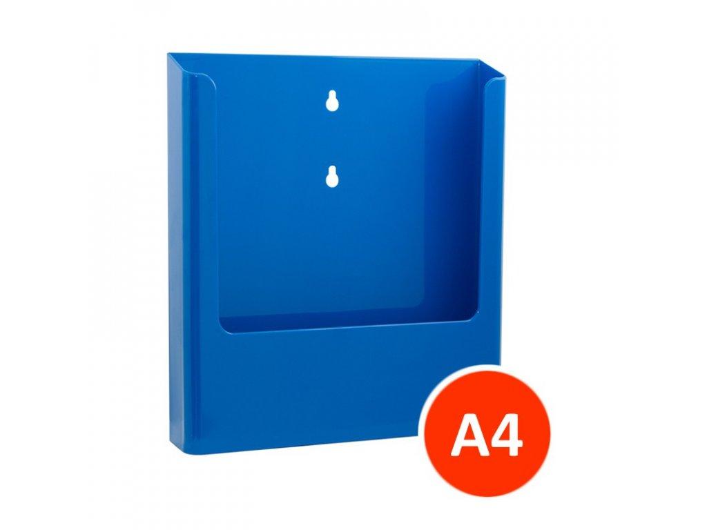 Nástěnný zásobník na letáky A4, modrý, balení 15ks
