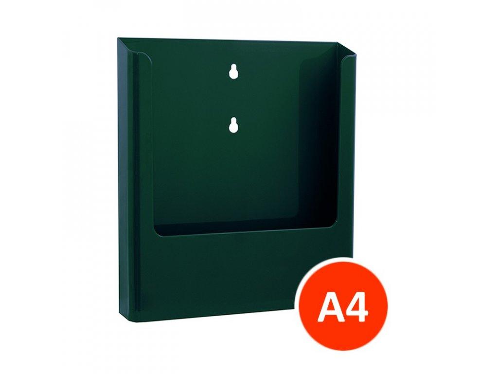 Nástěnný zásobník na letáky A4, zelený, balení 15ks