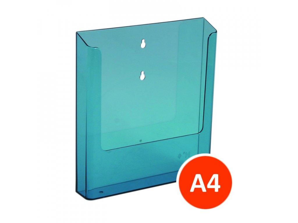 Nástěnný zásobník na letáky A4, tónovaný modrý, balení15ks