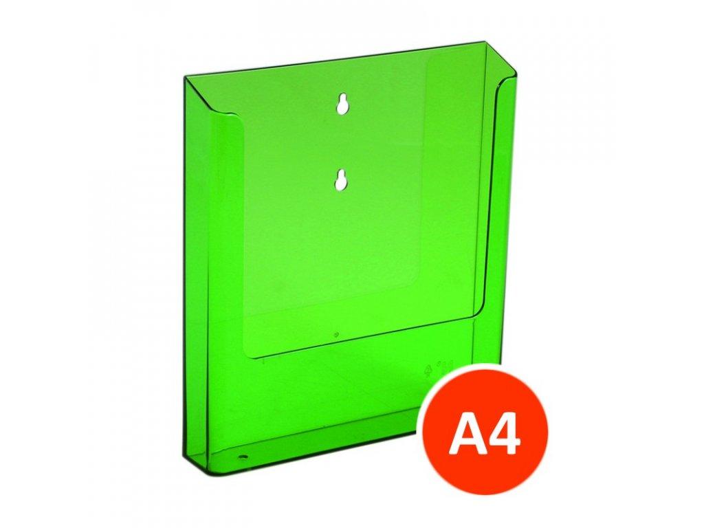 Nástěnný zásobník na letáky A4, tónovaný zelený