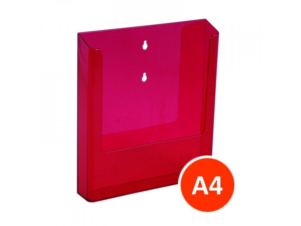 Nástěnný zásobník na letáky A4, tónovaný červený