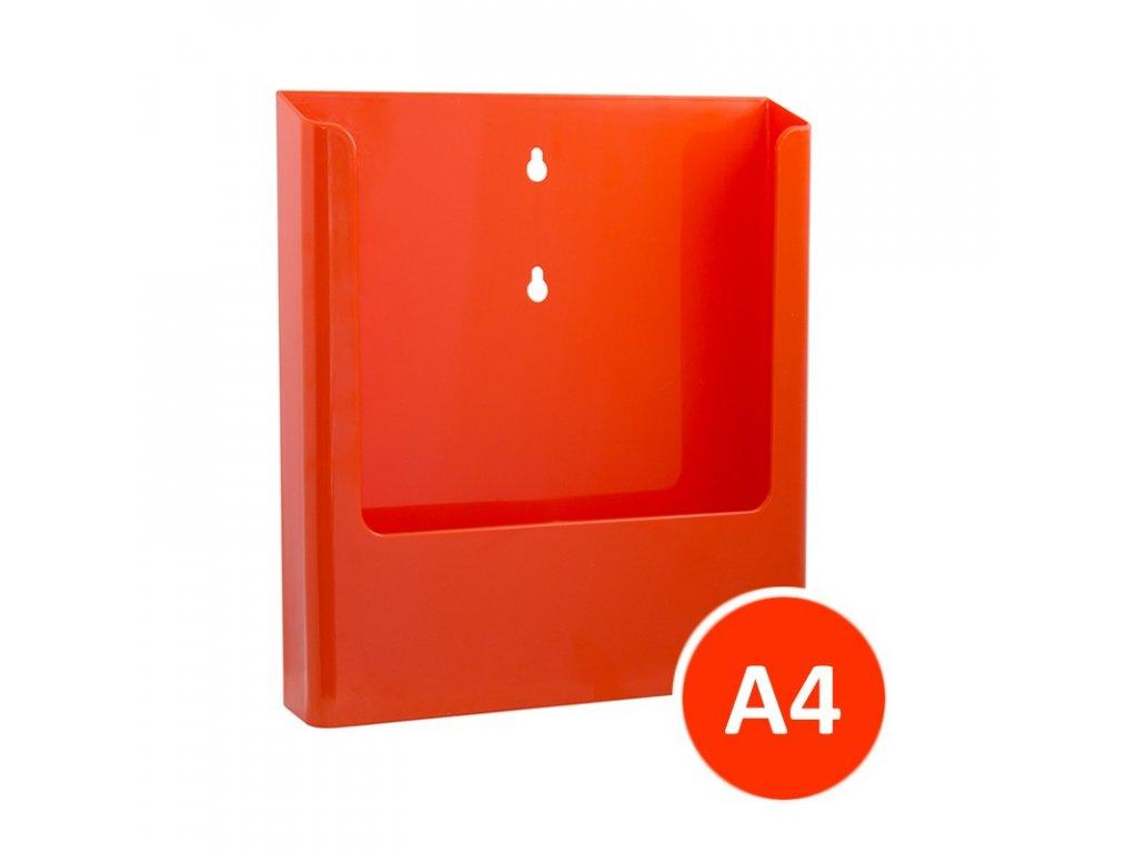 Nástěnný zásobník na letáky A4, oranžový, balení 15ks