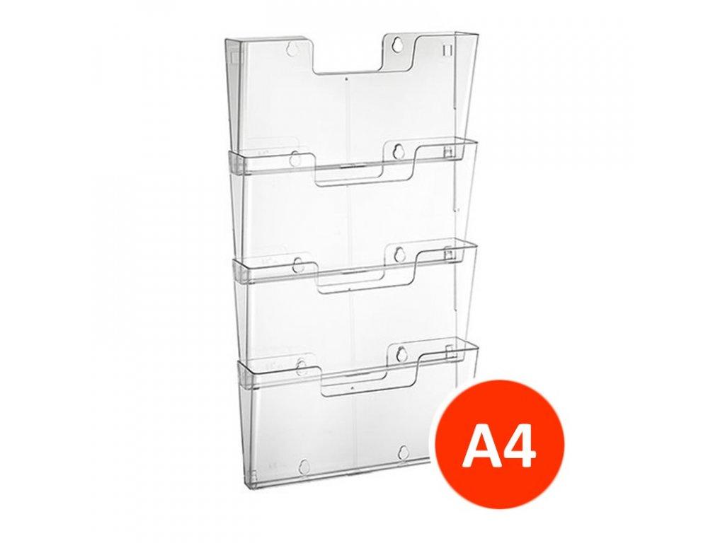 Nástěnný zásobník na letáky A4 na šířku, set 4ks, transparentní