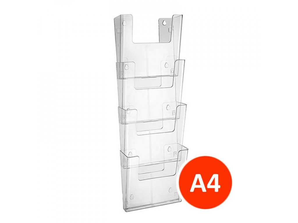 Nástěnný zásobník na letáky A4 na výšku, set 4ks, transparentní