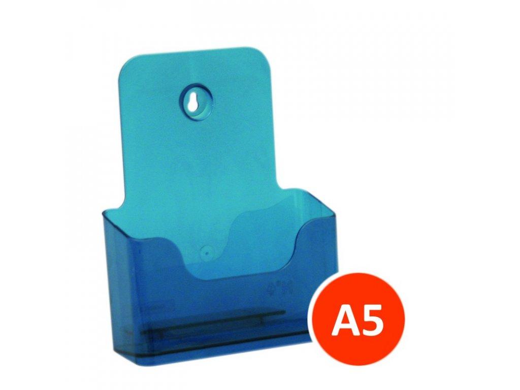 Stolní stojánek na letáky A5, tónovaný modrý