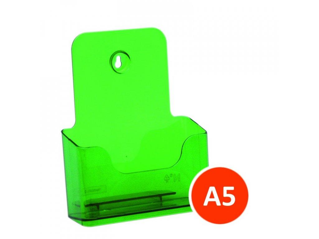 Stolní stojánek na letáky A5, tónovaný zelený