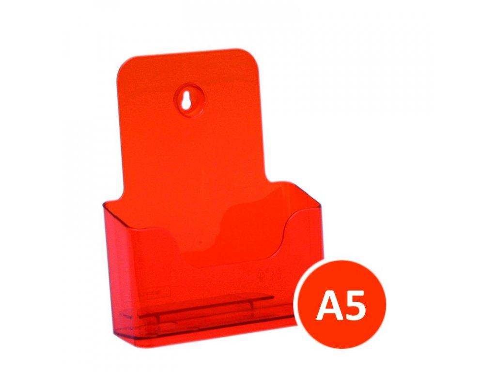 Stolní stojánek na letáky A5, tónovaný oranžový