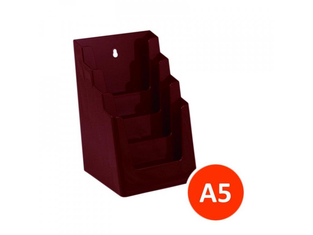 Stolní stojánek na letáky 4xA5, bordó, balení 12ks