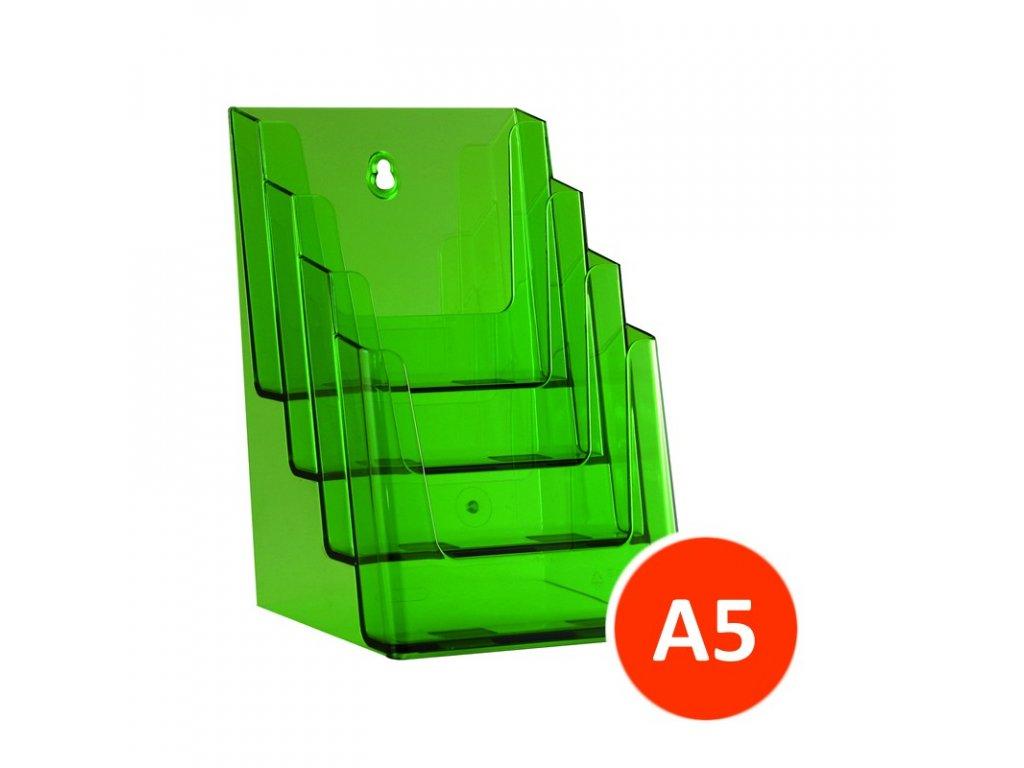 Stolní stojánek na letáky 4xA5, tónovaný zelený, balení 12ks