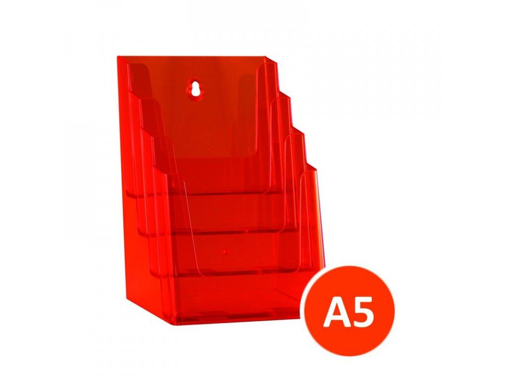 Stolní stojánek na letáky 4xA5, tónovaný oranžový