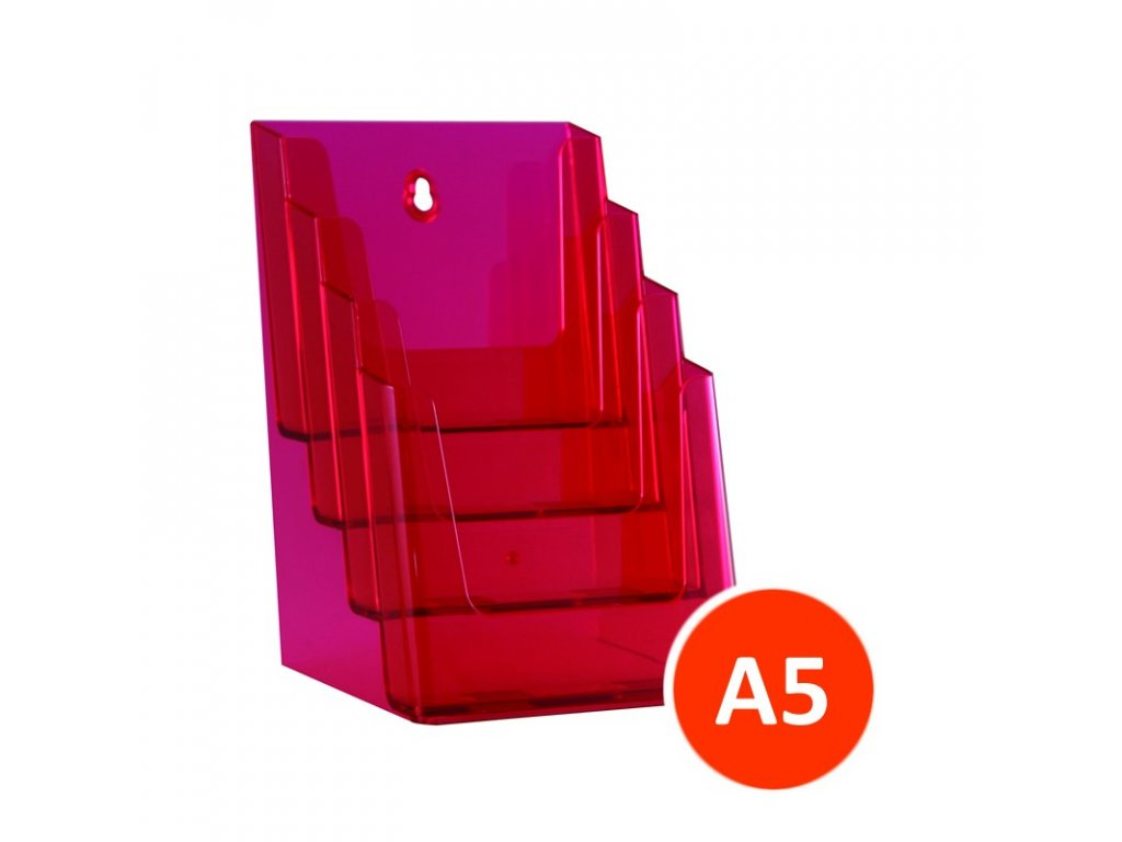 Stolní stojánek na letáky 4xA5, tónovaný červený