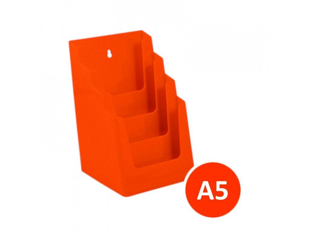 Stolní stojánek na letáky 4xA5, oranžový