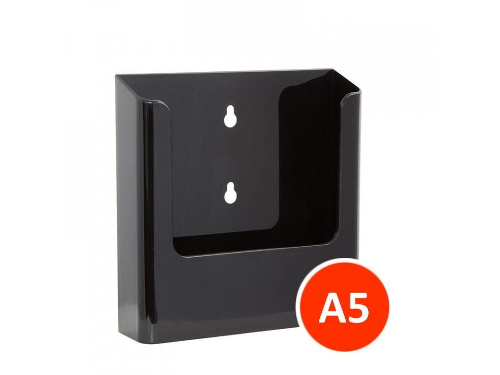 Nástěnný zásobník na letáky A5, černý, balení 22ks