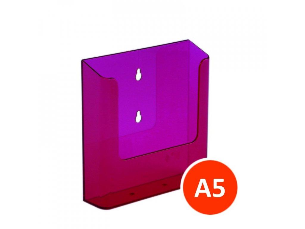Nástěnný zásobník na letáky A5, tónovaný červený