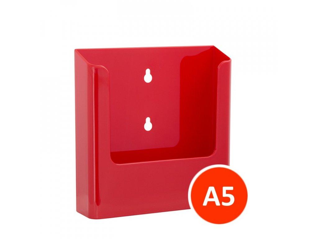 Nástěnný zásobník na letáky A5, červený