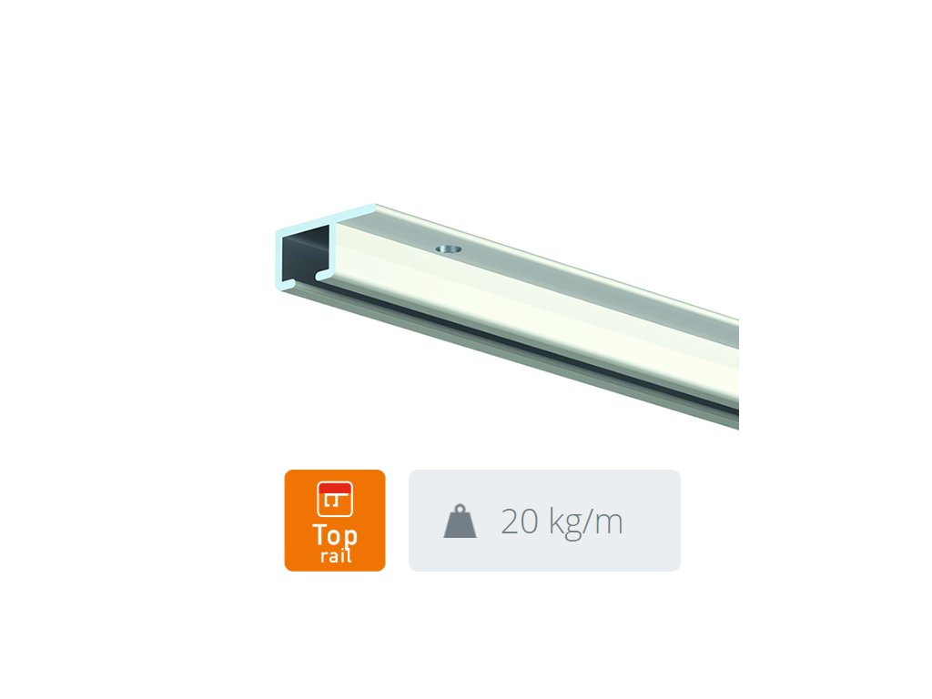 Stropní závěsná lišta Top Rail, bílá - 300 cm 9.6646