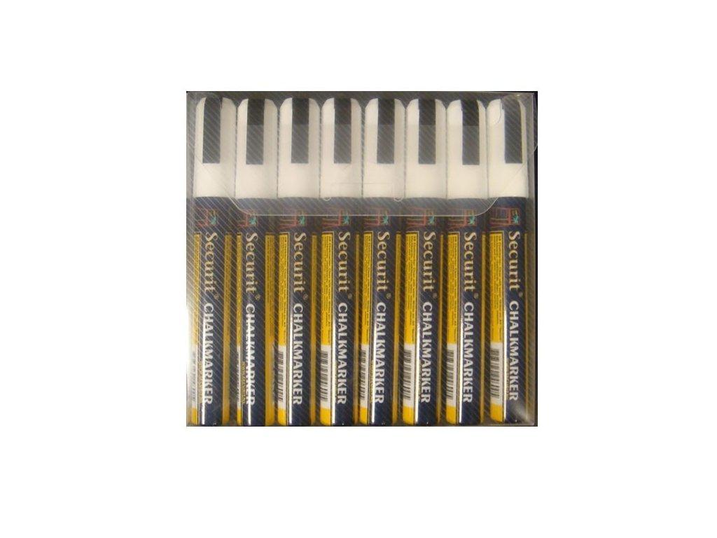 Křídový popisovač, hrot 6-15 mm, bílá barva, blistr 8 ks