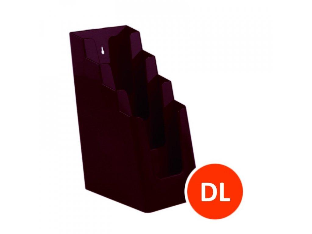 Stolní stojánek na letáky 4xDL, bordó