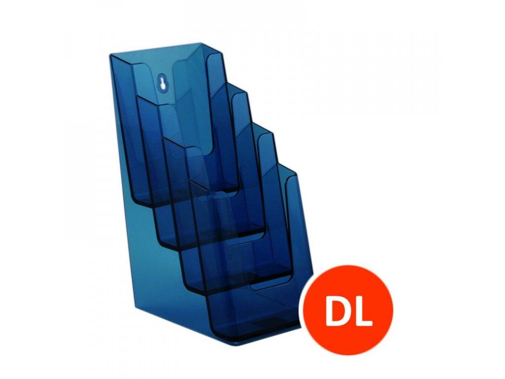 Stolní stojánek na letáky 4xDL, tónovaný modrý