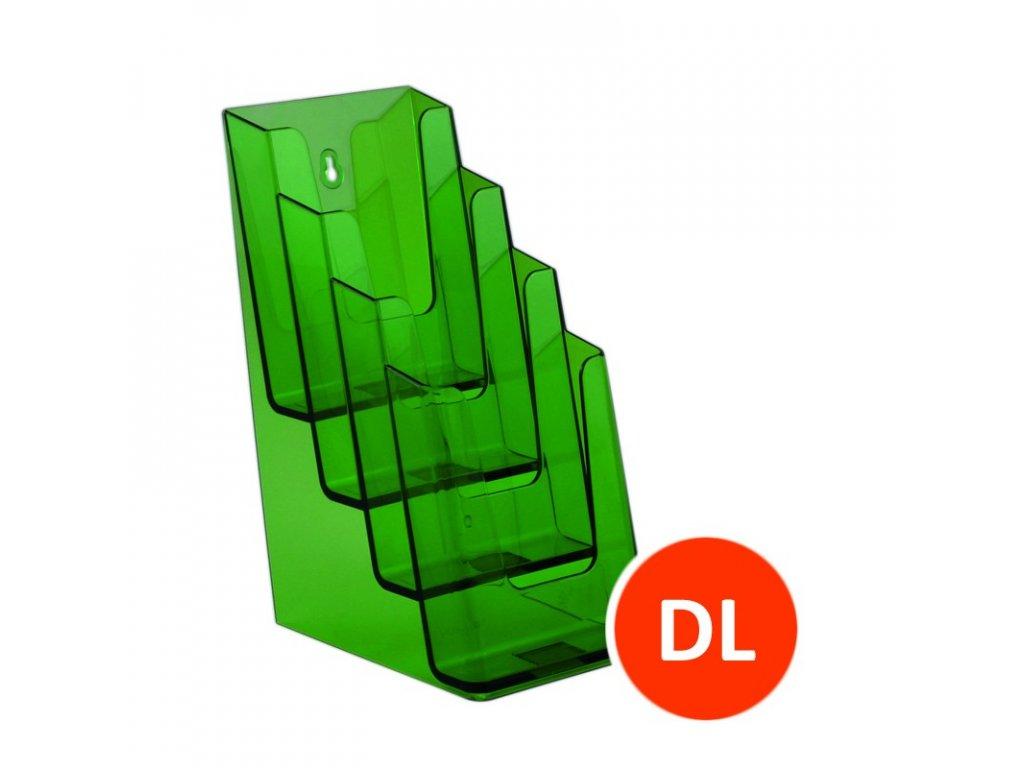 Stolní stojánek na letáky 4xDL, tónovaný zelený