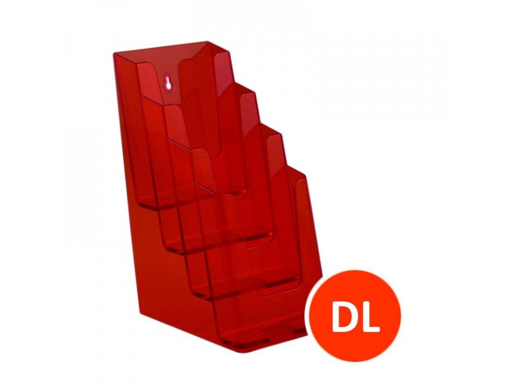Stolní stojánek na letáky 4xDL, tónovaný oranžový, balení 16ks