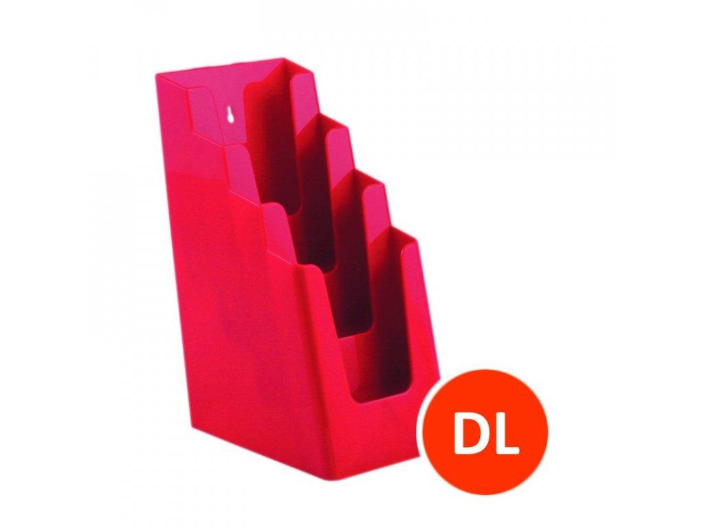 Stolní stojánek na letáky 4xDL, červený