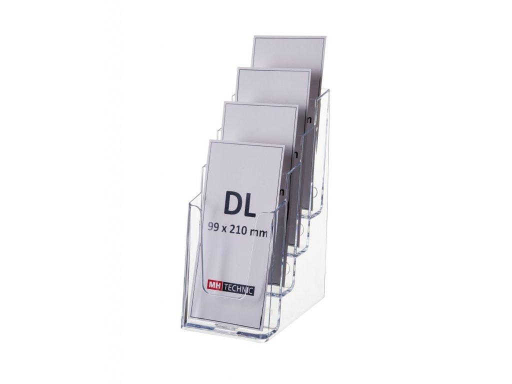 Stolní stojánek na letáky 4xDL, transparentní