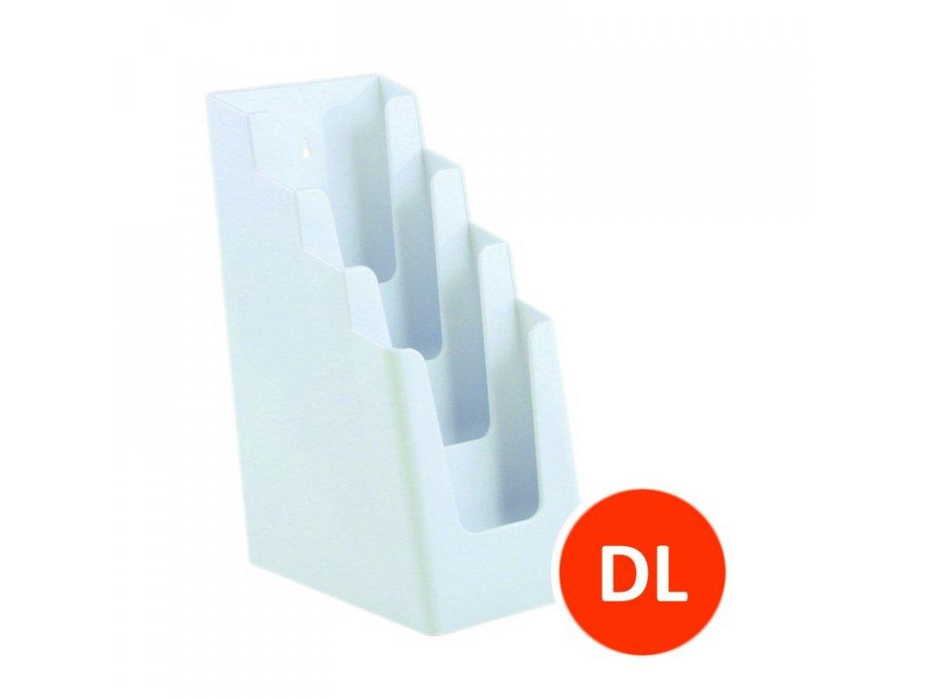 Stolní stojánek na letáky 4xDL, bílý, balení 16ks