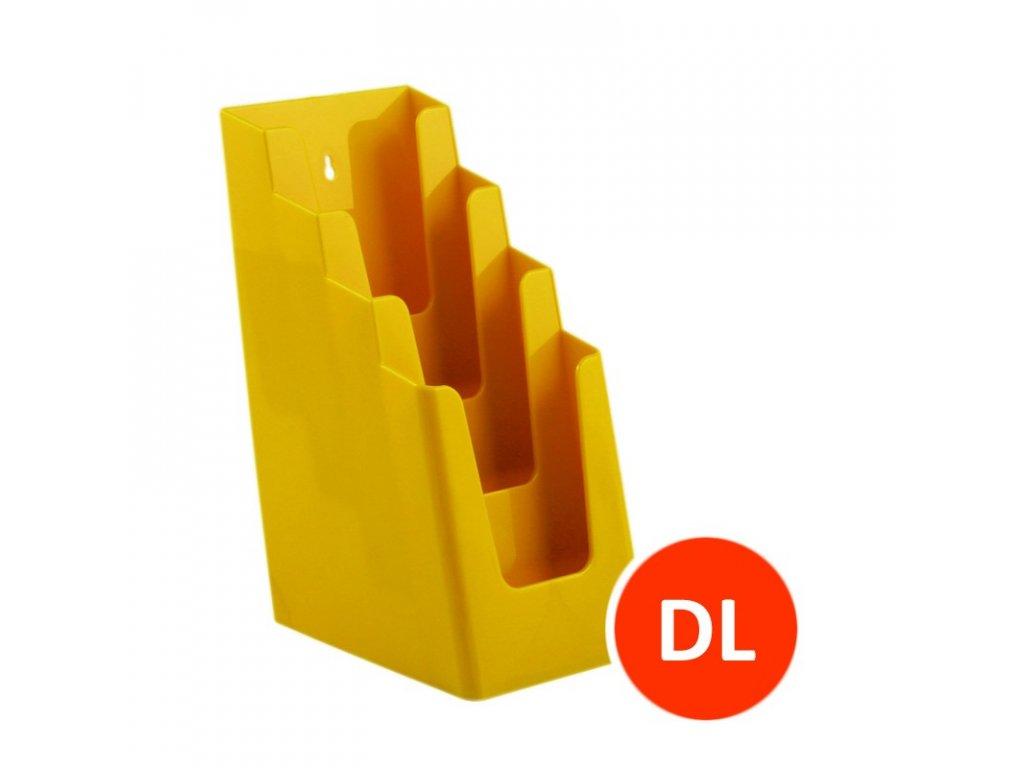 Stolní stojánek na letáky 4xDL, žlutý, balení 16ks