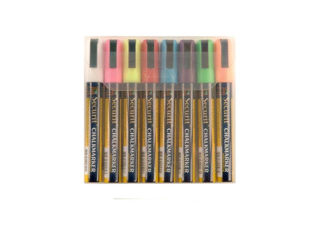 Křídový popisovač, hrot 2-6 mm, různé barvy, blistr 8 ks