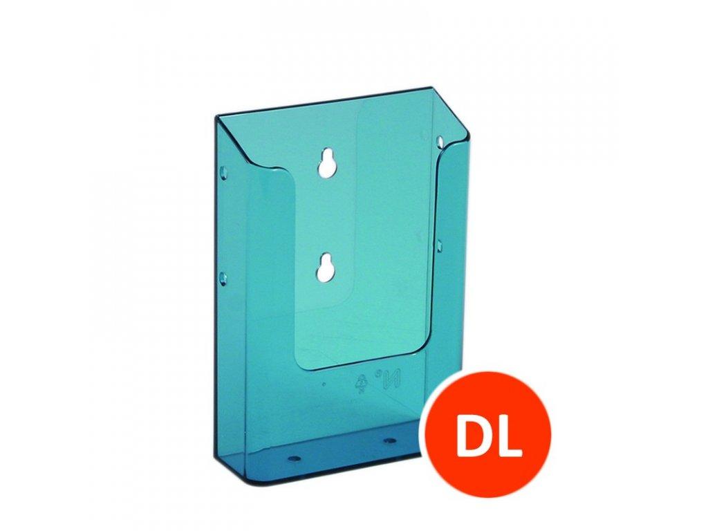 Nástěnný zásobník na letáky DL, tónovaný modrý