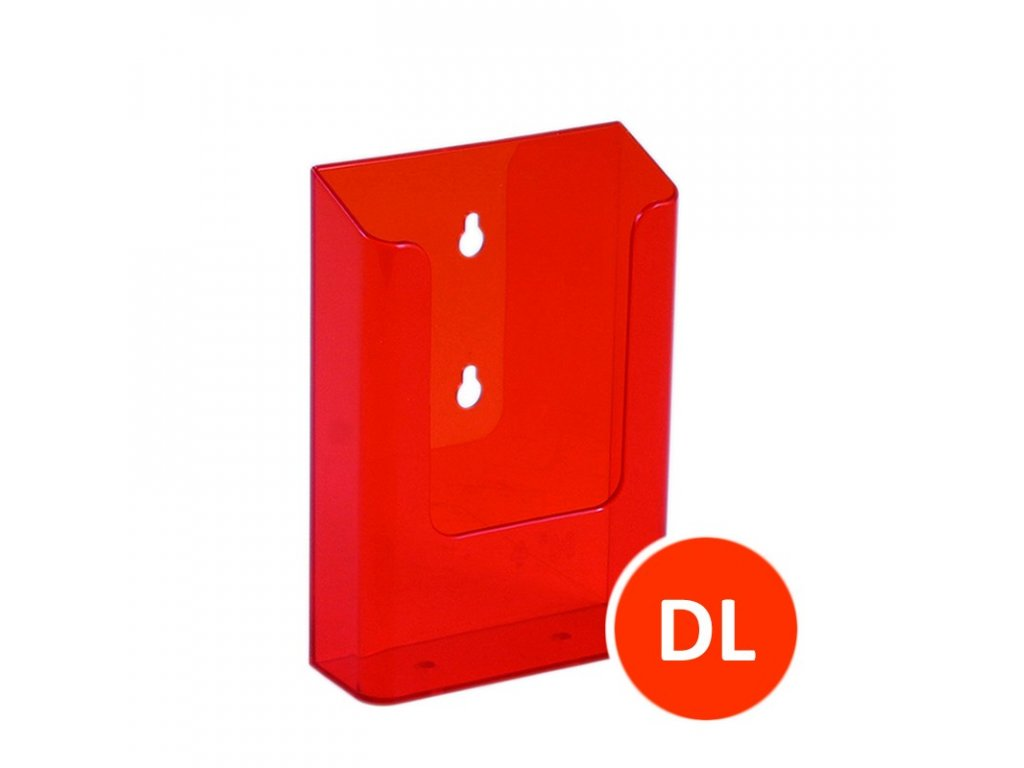 Nástěnný zásobník na letáky DL, tónovaný oranžový