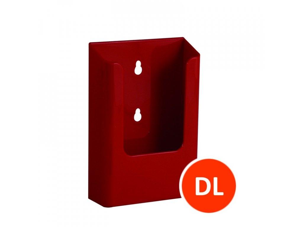 Nástěnný zásobník na letáky DL, červený