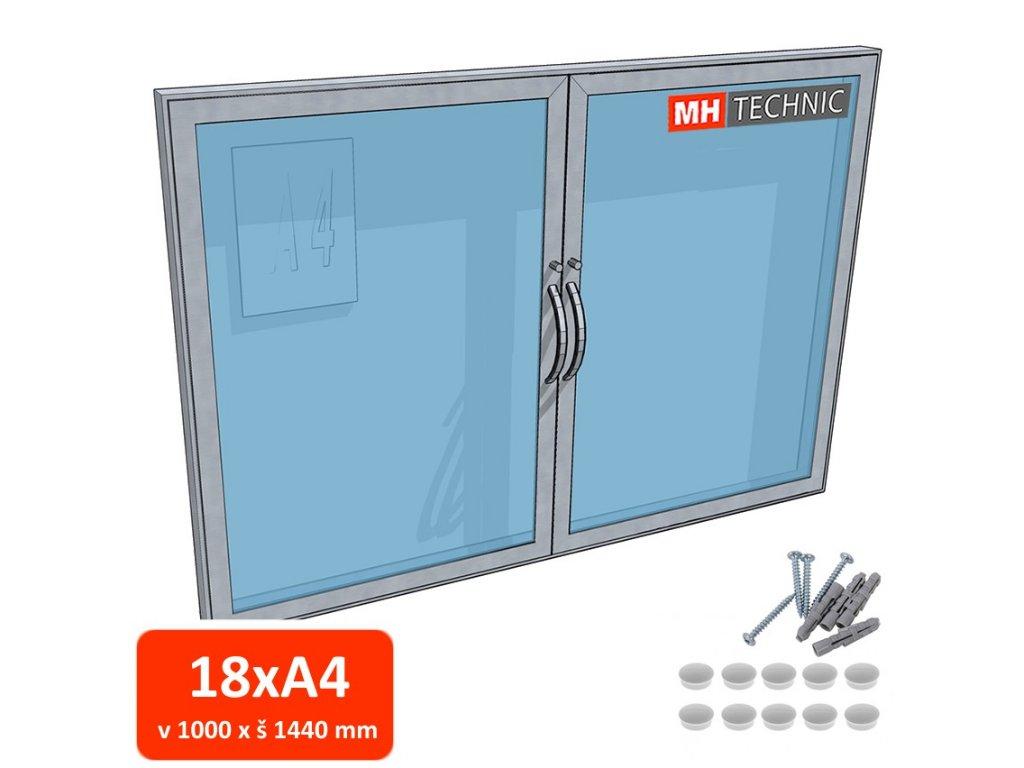 Dvoukřídlá venkovní informační vitrína MH60, 1000x1440 mm (18xA4)