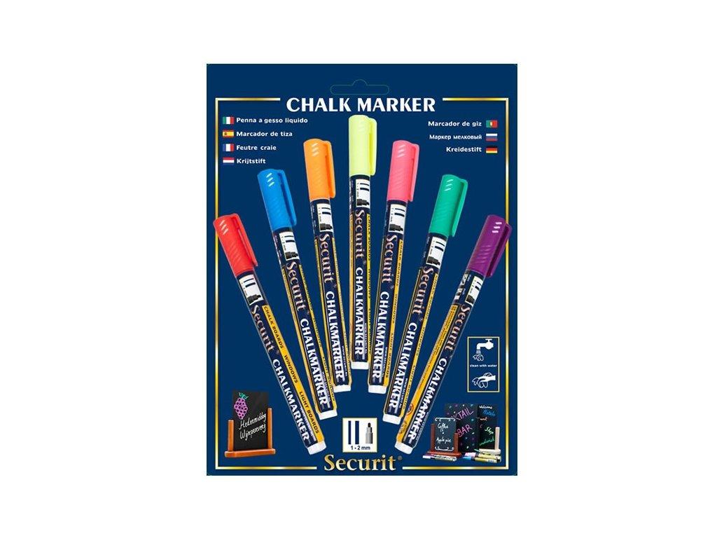 Křídový popisovač, hrot 1-2 mm, různé barvy, blistr 7 ks
