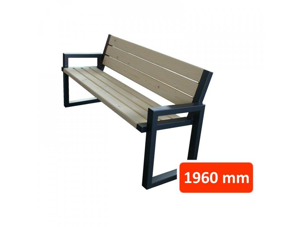Parková lavička CH s opěradlem, šířka 1960 mm