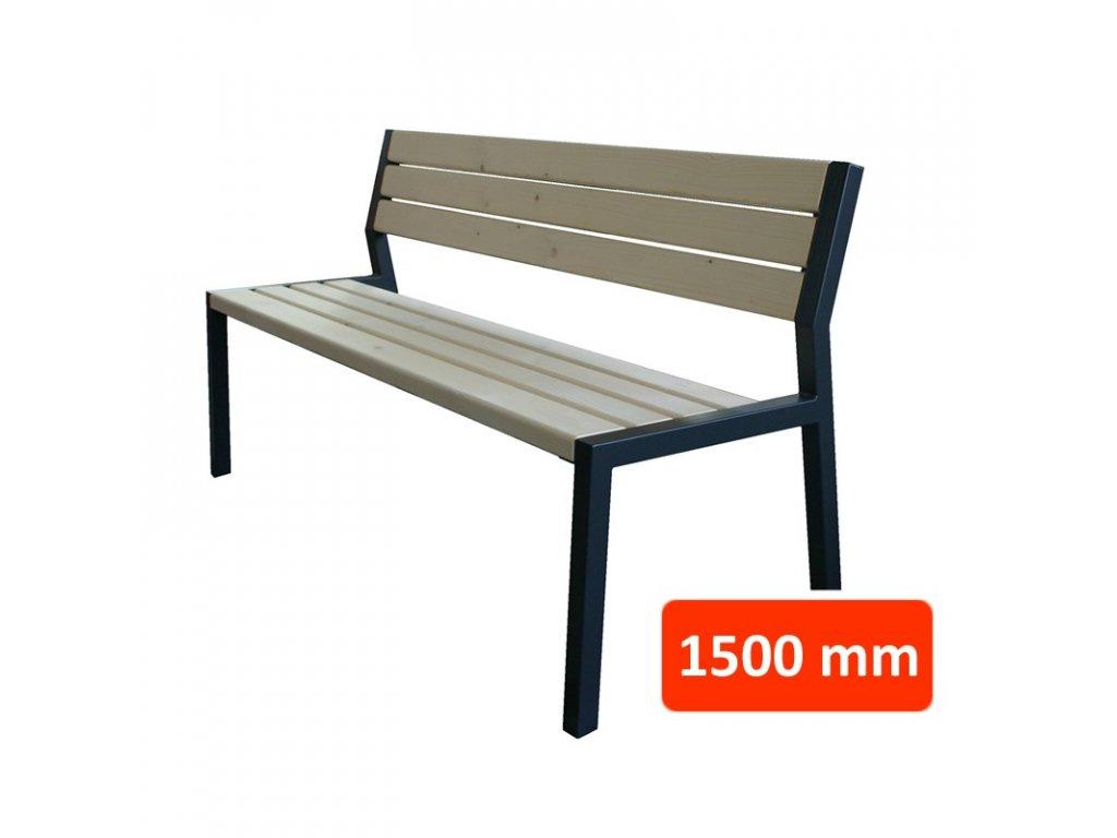 Parková lavička CS s opěradlem, šířka 1500 mm